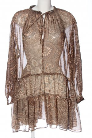 H&M L.O.G.G. Transparenz-Bluse braun-wollweiß abstraktes Muster Casual-Look