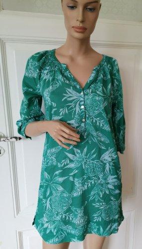 H&M L.O.G.G. Tunika Sommerkleid Bluse Gr. 34 grün/türkis Blumen 3/4-Ärmel