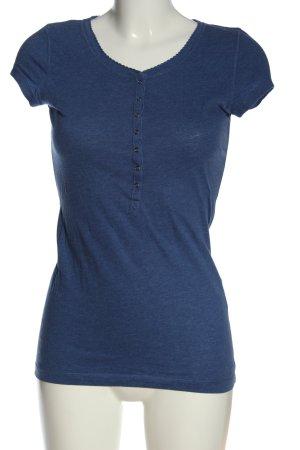 H&M L.O.G.G. Camisa de cuello barco azul moteado look casual