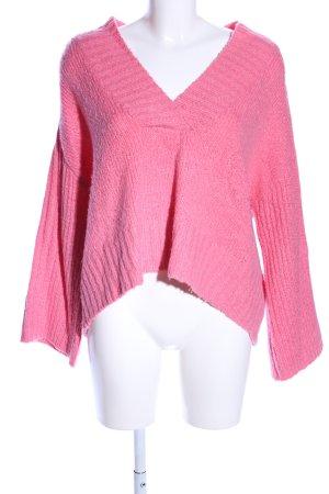 H&M L.O.G.G. V-Ausschnitt-Pullover pink Business-Look