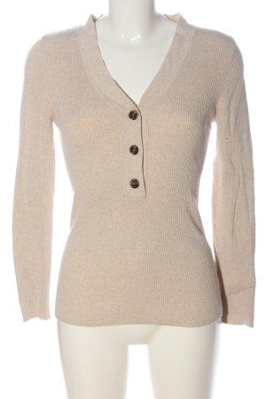 H&M L.O.G.G. V-Ausschnitt-Pullover creme meliert Casual-Look