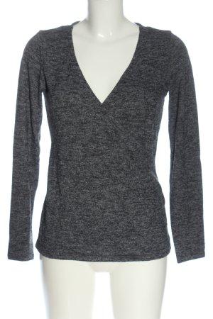 H&M L.O.G.G. V-Ausschnitt-Pullover schwarz-hellgrau meliert Casual-Look