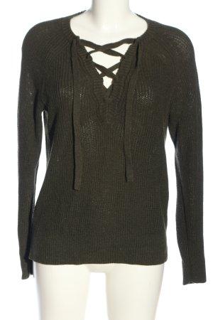 H&M L.O.G.G. V-Ausschnitt-Pullover khaki Zopfmuster Casual-Look