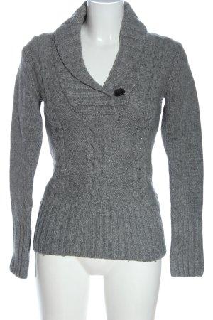 H&M L.O.G.G. V-Ausschnitt-Pullover hellgrau meliert Casual-Look