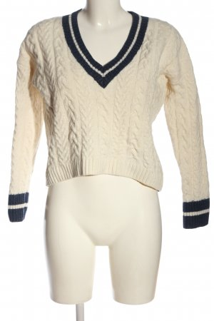 H&M L.O.G.G. V-Ausschnitt-Pullover creme Zopfmuster Casual-Look