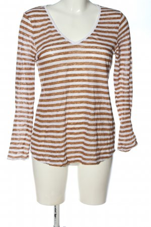 H&M L.O.G.G. V-Ausschnitt-Pullover weiß-braun Allover-Druck Casual-Look