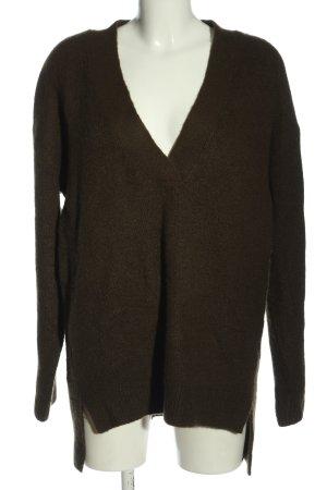 H&M L.O.G.G. V-Ausschnitt-Pullover braun meliert Casual-Look