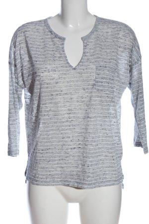 H&M L.O.G.G. V-Ausschnitt-Pullover hellgrau-weiß Streifenmuster Casual-Look