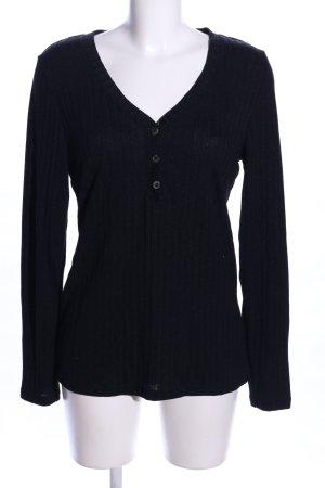 H&M L.O.G.G. V-Ausschnitt-Pullover schwarz Casual-Look