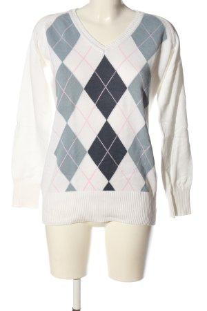 H&M L.O.G.G. V-Ausschnitt-Pullover weiß-blau grafisches Muster Casual-Look