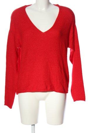 H&M L.O.G.G. V-Ausschnitt-Pullover rot Casual-Look