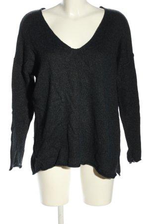H&M L.O.G.G. V-Ausschnitt-Pullover schwarz meliert Casual-Look