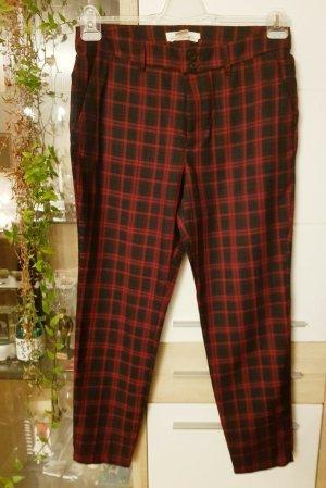 H&M Woolen Trousers dark red-dark brown cotton