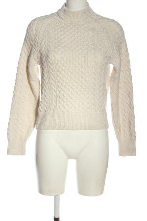 H&M L.O.G.G. Warkoczowy sweter biały Warkoczowy wzór W stylu casual