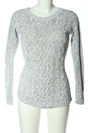 H&M L.O.G.G. Warkoczowy sweter brązowy-biały Melanżowy W stylu casual