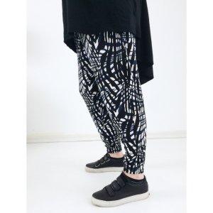 H&M lässige Jersey Hose L 40 42 schwarz weiss blau Haremshose Shirtstoff Pluderhose Jogger Pants