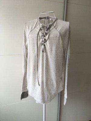 H&M Geribd shirt grijs-lichtgrijs