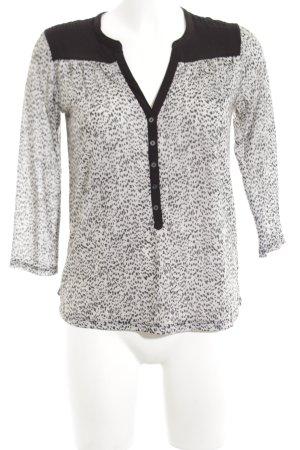 H&M Langarm-Bluse schwarz-weiß Animalmuster Business-Look