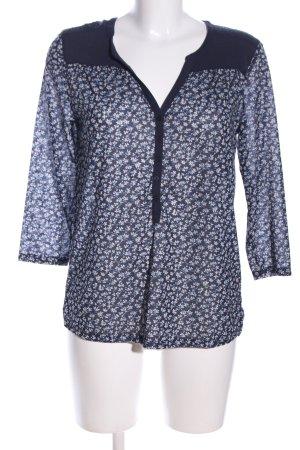 H&M Langarm-Bluse blau-weiß Allover-Druck Business-Look