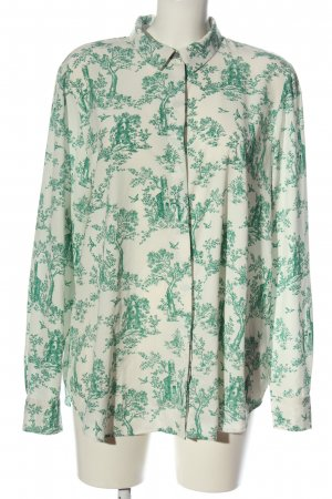 H&M Langarm-Bluse weiß-grün Blumenmuster Casual-Look