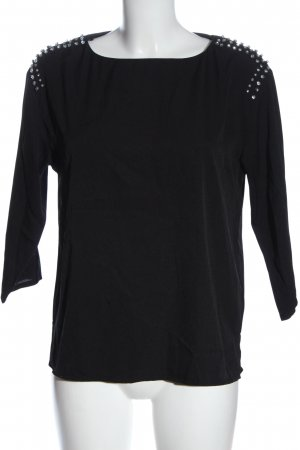 H&M Langarm-Bluse schwarz-silberfarben Casual-Look