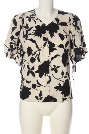 H&M Long Sleeve Blouse white-black flower pattern casual look