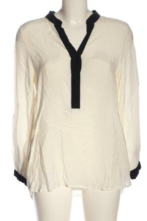 H&M Langarm-Bluse wollweiß-schwarz Casual-Look