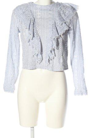 H&M Langarm-Bluse weiß-blau Streifenmuster Elegant