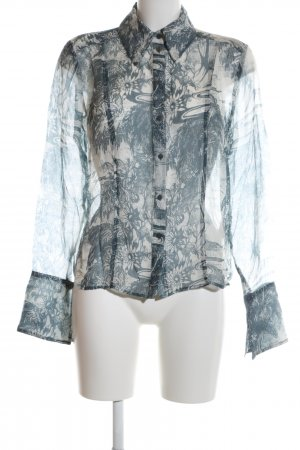 H&M Langarm-Bluse blau-türkis Allover-Druck Elegant