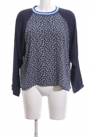 H&M Langarm-Bluse blau-weiß Blumenmuster Casual-Look