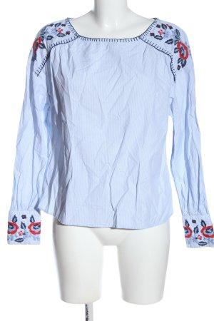 H&M Langarm-Bluse blau Blumenmuster Business-Look