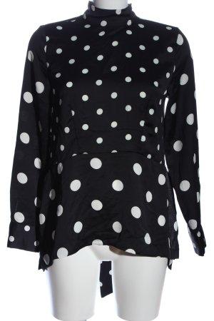 H&M Langarm-Bluse schwarz-weiß Allover-Druck Business-Look