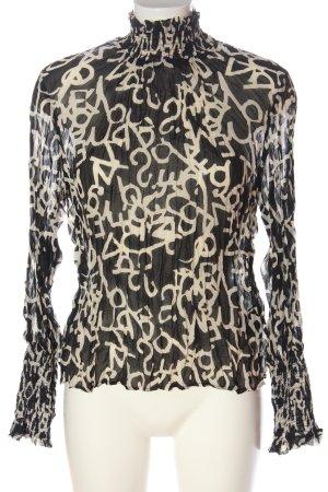H&M Langarm-Bluse schwarz-wollweiß abstraktes Muster Casual-Look