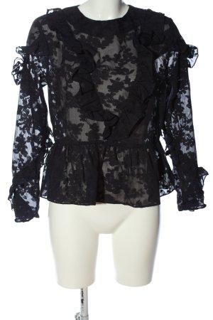 H&M Langarm-Bluse schwarz Allover-Druck Elegant