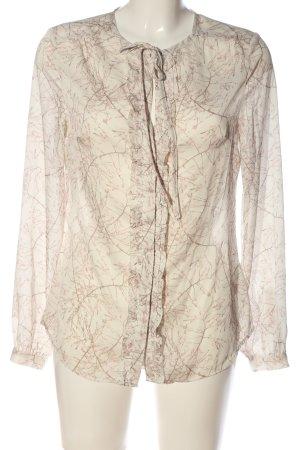 H&M Blouse met lange mouwen room-bruin volledige print casual uitstraling