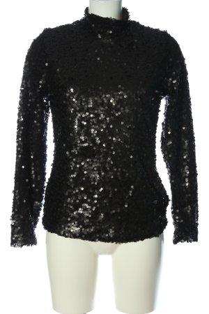 H&M Langarm-Bluse schwarz Glitzer-Optik