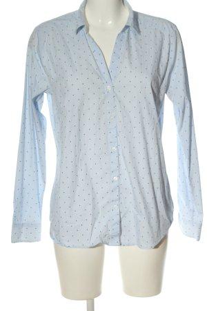 H&M Langarm-Bluse blau-weiß Allover-Druck Casual-Look