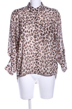 H&M Langarm-Bluse creme-braun Animalmuster Elegant