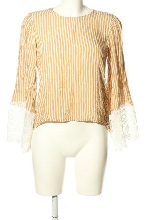 H&M Langarm-Bluse hellorange-weiß Allover-Druck Casual-Look