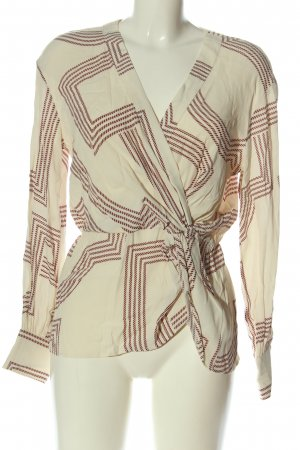 H&M Langarm-Bluse creme-rot Allover-Druck Casual-Look
