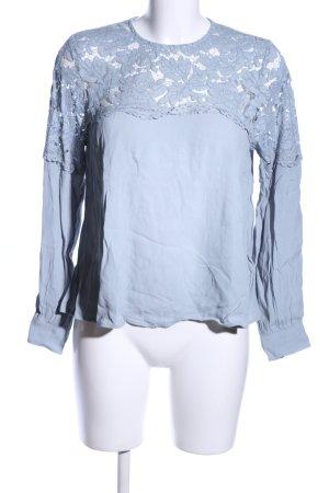 H&M Langarm-Bluse blau Blumenmuster Casual-Look