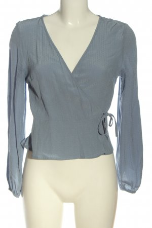 H&M Langarm-Bluse blau Allover-Druck Casual-Look