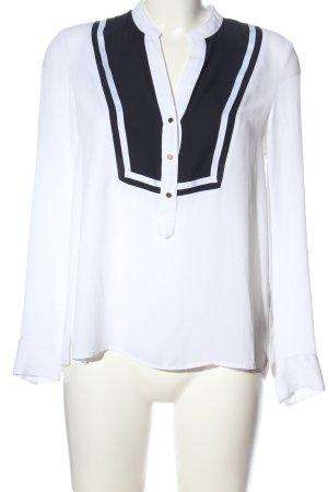 H&M Langarm-Bluse weiß-schwarz Casual-Look
