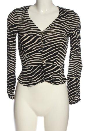 H&M Langarm-Bluse schwarz-wollweiß Allover-Druck Casual-Look