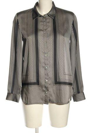 H&M Langarm-Bluse schwarz-creme Allover-Druck Elegant