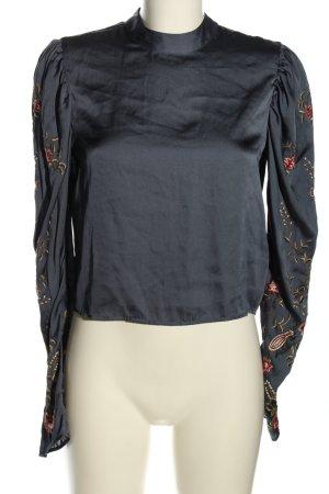 H&M Langarm-Bluse hellgrau Schriftzug gestickt Casual-Look