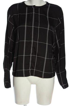 H&M Bluzka z długim rękawem czarny-biały Wzór w kratkę W stylu casual