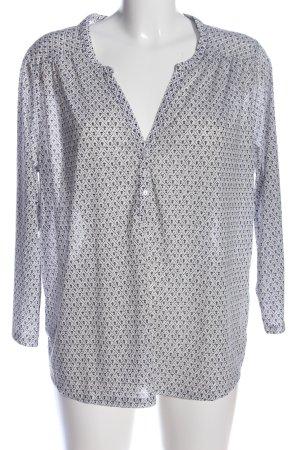 H&M Langarm-Bluse weiß-schwarz Allover-Druck Casual-Look