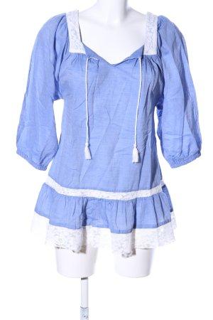 H&M Langarm-Bluse blau-weiß Casual-Look