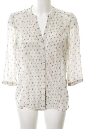 H&M Langarm-Bluse creme-hellgrau Allover-Druck Casual-Look